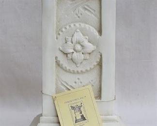 "$50 Pedestal: Antiqued off-white cast resin, square, raised floral design.  W: 7""   H: 13.5""   D: 7"" [Props]"