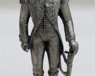 "$50 Figurine of General Rapp in chapeau à bras, cast metal on wooden stand w/ label ""Les Etains du Prince"".  W: 2""   H: 5""   D: 1"" [Bin 38]"