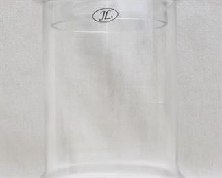 """$25 Clear glass footed jar w/ lid, marked """"JL"""".  H: 6.5""""   diameter: 7"""" [Props]"""