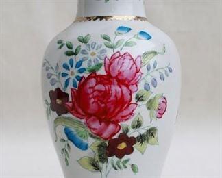 "$25 White ceramic vase w/ hand-painted flowers & gold trim, made in China.  H: 8""      diameter: 4"" [Bin 38]"