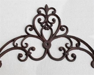 """$40 Wall-mounted dark cast metal scrollwork, 3 holes for hanging.  W: 15""""   H: 10""""   D: 0.5"""" [Bin 37]"""