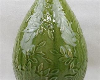 """$30 Green ceramic vase, embossed foliage.  H: 14.5""""   diameter: 8.5"""" - 2 available [Props]"""