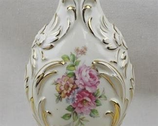 """$25 Dresden-style ceramic vase, cream w/ gold, pink roses & foliage on both sides. Paul Gifts, #8817.  W: 6""""   H: 12.5""""   D: 5""""  AS IS : one crack in finish [Props]"""