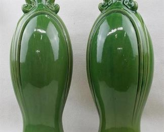 """$30 each Set of 2 green ceramic vases w/ small opening on top, Craftsman style.  H: 18.5""""   diameter: 7.5"""" [Props]"""