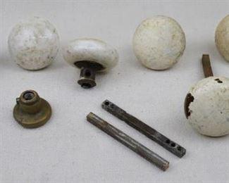 "$50 ALL Set of vintage round ceramic door knobs (each 2"" diameter), vintage doorknob spindles ( each 3.75"" L), and vintage brass doorknob escutcheon [Bin 37]"