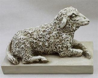"$50 Grave marker for infant (?) of painted resin, sheep lying on slab pedestal, antiqued cream finish.  L: 12""   W: 5.5""   H: 8.5"" [Bin 36]"