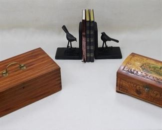"""$30 each item Left: Wooden box w/ dovetailed corners, hinged lid w/ brass handle, compartments inside.  L: 13""""   W: 7""""   H: 5"""" Right: Wooden jewelry casket, dovetailed corners, hinged lid w/ picture and w/ mirror inside.  L: 11.5""""   W: 6.5""""   H: 4.5"""" Ledgers, nice bindings, unused.  L: 8.5""""   W: 6""""   D: 0.5""""  Set of 2  bird bookends SOLD .  L: 5""""   W: 4""""   H: 6"""" [Bin 35]"""