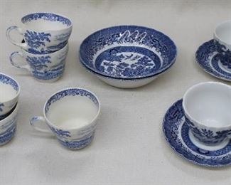 """LOT $40 Left: Set of 5 vintage blue & white china tea cups, no saucers    """"Silverdale"""" by Swinnertons of Staffordshire  Center: Set of 2 Blue Willow ceramic cereal bowls.  diameter: 6.5"""" Right: Set of 2 Blue Willow ceramic tea cups w/ saucers [Bin 34]"""
