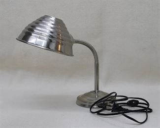 """$30 Goose neck lamp, silver metal, on/off switch on cord.  W: 5""""   H: 17""""   lamp shade diameter: 6"""" [Bin 31]"""