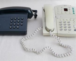 $30 Lot of 2 push-button office desk phones, coiled cords, 1980s? [Bin 31]