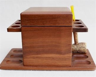 """$25 Pipe stand for 6 pipes, mahogany wood w/ felt on bottom, box for tobacco, comes w/ tobacco & corncob pipe.  W: 1""""   H: 6""""   D: 5.5"""" [Bin 26]"""