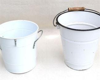 """$20 Lot: White enamelware pail (new), 2 steel side handles, one steel hook on lip.  H: 8""""   diameter: 8"""" [Bin 30]"""
