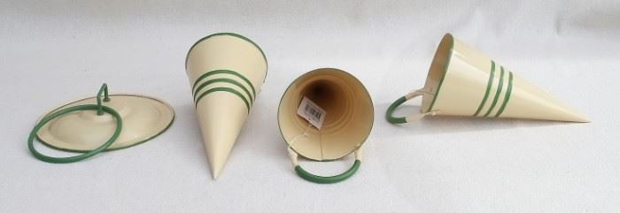 "$25 Lot:  Enamelware towel ring, cream/green, wall mounted on ""pan lid"" (W: 6""   H: 6""   ring diameter: 4"") and 3 Enamelware cones, cream/green, green handles (L: 8.5""   diameter: 3.5"").  All new, made in China. [Bin 30]"