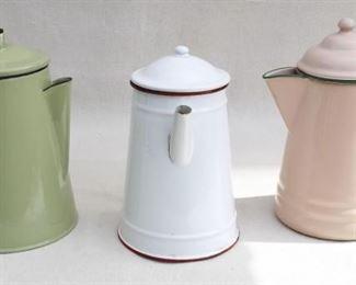 "$30 each - Vintage green enamelware stovetop coffee pot, holds ~64 oz.  H: 9""    diameter: 6"" - Vintage white enamelware stovetop coffee pot, holds ~64 oz.  H: 9""    diameter: 5""    - Vintage tan enamelware stovetop coffee pot, holds ~64 oz.  H: 9.5""   diameter: 5"" [Bin 30]"