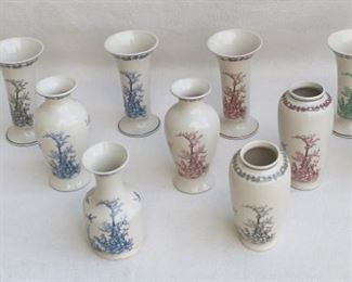 """$30 each - Total of 11 vases, 4 shapes, ceramic, all transfer-printed in gray, red, blue, or green on cream background w/ same design of rooster, flying bird, foliage, in box, made in China.  H: 7""""   diameter: 3.5"""" [Box 27]"""