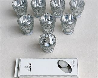 """$25 Set of 8 votive candle holders, pressed glass w/ interior silver wash, box of tea lights included.  In box, made in China.  H: 3""""   diameter: 3"""" [Bin 26]"""