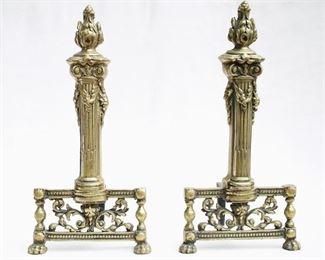 """$120 - Set of 2 andirons: Cast brass, torch design.  W: 8""""   H: 16""""   D: 8.5"""" [Props]"""