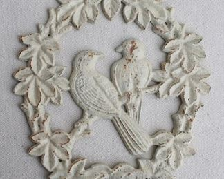 """$40 - Cast metal wall plaque, painted white, love birds in wreath, hole for hanging.  W: 7.5""""   H: 9""""   D: 0.5"""" [Bin 25]"""