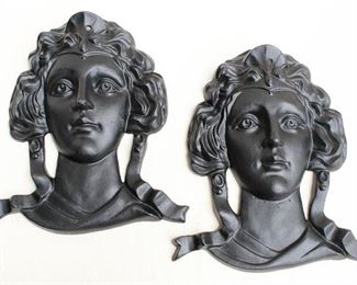 """$60 each -  Black cast metal wall plaques, female heads in Beaux Arts style, hole for hanging.  W: 12""""   H: 14""""   D: 3""""  - 2 available [Bin 24]"""