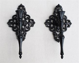 """$80 - Set of 2 black cast metal wall sconces for a single candle, shiny, hanger on back.  W: 5.5""""   H: 11""""   D: 4"""" [Bin 25]"""