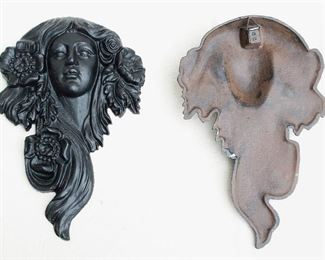 "$60 each - Black cast metal wall plaques, female heads in Art Nouveau style, hanger on backs.  W: 8""   H: 13""   D: 2"" - 2 available [Bin 24]"