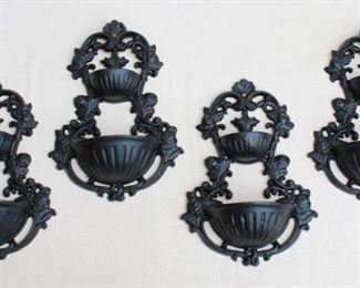 """$20 each- Black cast metal wall pockets, ornate surround for 2 half-round basins, hole for hanging.  W: 9""""   H: 12""""   D: 3.5"""" - 4 available [Bin 24]"""
