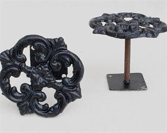 """$30 - Set of 2 black cast metal tie backs for drapes, square floral design, 2 holes for hanging.  W: 4""""   H: 4""""   D: 3.5"""" [Bin 24]"""