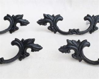 "$40 - Set of 4 black cast metal drawer pulls, stylized foliage.  W: 7""   H: 2""   D: 1""   Spacing between screws: 4""  [Bin 24]"