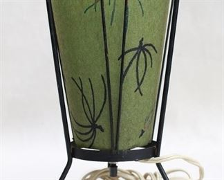 """$45 - Vintage tabletop torchière, metal frame w/ 3 feet, oiled green shade with pattern, single small bulb, original wiring.  H: 10""""   Shade diameter: 5.5"""" [Bin 23]"""