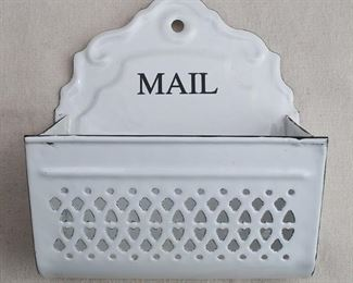 """$20 - Reproduction wall hanger labeled """"MAIL"""", white enameled metal, pierced decoration, hole for hanging. Lace Haystack.  W: 8""""   H: 9""""   D: 4"""" [Bin 22]"""