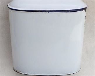"""$40 - Vintage water reservoir w/ spigot and lid, white/black enameled metal, 2 metal hangers, goes with vintage wall basin.  W: 10""""   H: 14.5""""   D: 5""""   holds 1 gal.?   AS IS: some chips [Bin 22]"""