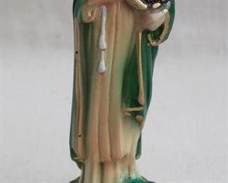 """$20 - Saint Cecilia statue w/ lyre, painted plaster.  W: 2.5""""   H: 8""""   D: 2.5"""" [Bin 21]"""