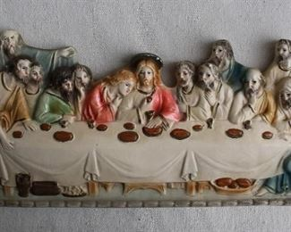 """$20 - Painted plaster icon inspired by DaVinci's Last Supper, 2 metal rings for hanging.  W: 12""""   H: 6""""   D: 1"""" [Bin 21]"""