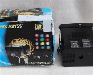 """$200 - Light projector, black metal w/ ceiling hanger, 9 settings for light patterns, electric cord, for indoor use only.  Chauvet Lighting, DMX-450 Abyss.  W: 10.5""""   H: 9.5""""   D: 10.5"""""""