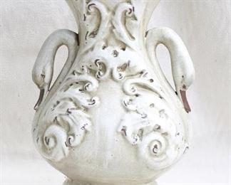 """$75 - Grayish glazed ceramic w/ raised acanthus leaf decoration, crackled aged finish, 2 swan neck handles.  W: 10""""   H: 15.5""""   D: 7.5"""" [Vase]"""