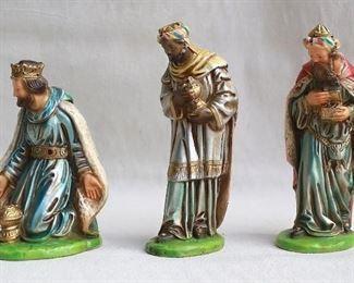 "$30 - Set of 3 Wise Men, painted plaster.  H:  7.5""-9"" [Bin 21]"