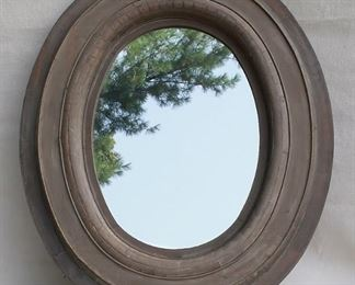 """$24 - Mirror with oval frame of lightweight wood, painted taupe finish, 2 metal hangers.  W: 30""""   H: 36""""   D: 2.5""""   mirror diameter:  15.5x21.5"""""""
