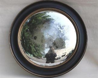 "$20 - See-through mirror, round plastic frame finished as dark wood w/ gold trim, picture wire hanger.  W: 29.5""   H: 29.5""   D: 2""   mirror diameter: 21.5"""