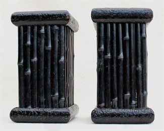 """$20 - Set of 2 pedestals, black-finished resin, bamboo motif.  W: 5""""   H: 9""""   D: 5"""" [Bin 20]"""