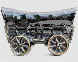 """$24- Planter shaped like a covered wagon, black-glazed ceramic picked out in gold.  L: 10""""   W: 4""""   H: 5.5"""" [Bin 19]"""
