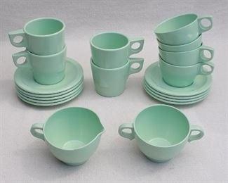 "$55 - LOT of sea green melamine plastic dishes, Texas Ware, Dallas TX :  8 saucers (diameter: 5.5""), 4 tea cups (H: 2.5""    diameter: 3.5""),  4  coffee cups, stackable (H: 3""    diameter: 3""), 1  sugar bowl (L: 6""   W: 4""   H: 2.5""), 1  creamer (L: 5""   W: 4""   H: 2.5"")  [Bin 18]"