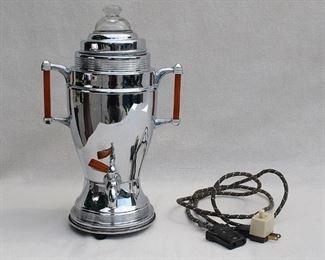 "$40 - Vintage chrome samovar w/ amber celluloid handles, glass dome, original electrical cord.  W: 8.5""   H: 14""   D: 8"" [Bin 18]"