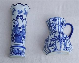 """$20 each - Left: wall vase shaped like a cylinder, Blue Bamboo collection, J.A. Designs, brand new.  H: 12""""  W: 5""""  D: 3"""".    Right: wall vase shaped like a pitcher, Blue Bamboo collection, J.A. Designs, brand new.  W: 8""""   H: 8""""   D: 4"""" [Bin 16]"""