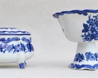 "$20  - Left: Blue & white Chinese ceramic box w/ lid, new in box.  W: 6""   H: 4.5""   D: 4.5""  $20 - Right: Blue & white Chinese ceramic footed bowl, nw in box.  H: 6""   bowl diameter: 7"" [Bin 17]"