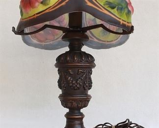 $120 - Table lamp, cast metal, bronze finish, for single bulb, floral-painted glass globe w/ 5 bosses, 6' cord w/ on-off switch.  W: 15"
