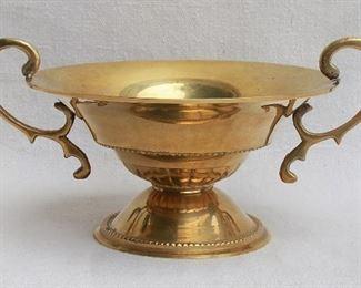 "$24 - Round basket w/ handles, smooth flared lacquered brass.  W: 9""   H: 3.5""   bowl diameter: 6.5"" [Bin 15]"