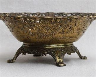 """$30  - Pierced round basket, cast brass, 4 feet.  H: 3.5""""   diameter: 8.5"""" [Bin 15]"""