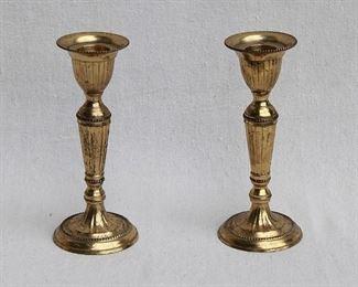 """$20 - Pair brass candlesticks.  H: 6""""    base diameter: 2.5"""" [Bin 15]"""