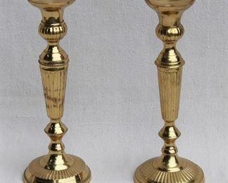 """$24- Pair brass candlesticks.  H: 10.5""""   base diameter: 4""""  [Bin 15]"""