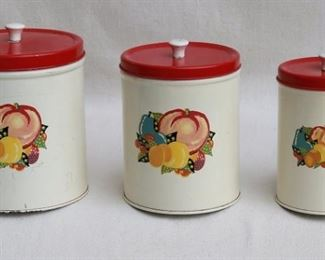 """$30 - Vintage canister set of 3 canisters, white w/ fruit decoration, red lids w/ white knobs.  H: 7.5""""   diameter of largest: 6"""" [Bin 12C]"""